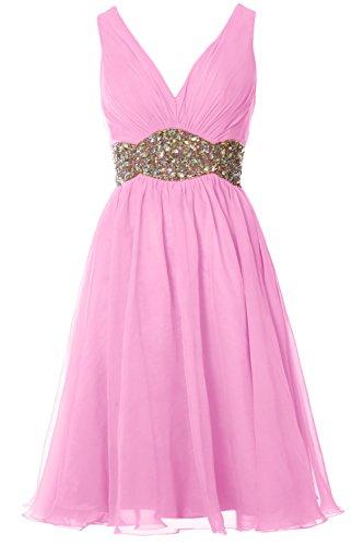MACloth donne cinghie v collo chiffon breve vestito da ballo matrimonio cocktail ballo Pink