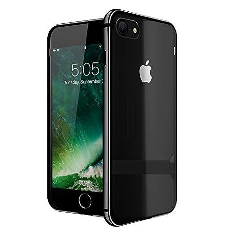 iPhone 7 Hülle, Roybens Metall Silikon 2 in 1 Extra Dünn Stoßfest Durchsichtig [Transparent] Schalen Clear Taschen für 2016 Apfel [Apple] iPhone7, Diamant Schwarz [Jet Black]