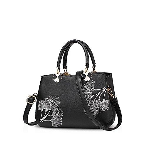 NICOLE&DORIS Donne Fiori Superiore Handle Handbags Borsa a tracollaBorsa Crossbody Totalizzatore Le signore cartella PU Pelle Foglia Nera Foglia Nera