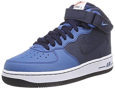 Nike Air Force 1 Mid (Gs), Sneakers Basses garçon - Bleu - Blau (Obsidian/Obsidian-Brigade Blue-White), 38.5