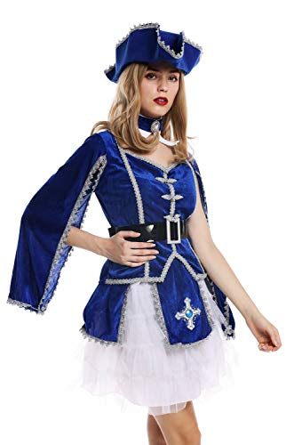 dressmeup W-0284 Kostüm Damen Frauen Karneval Barock Soldat Musketier Edelfrau Hut blau M (Halloween-kostüm Für Damen Spielzeug-soldat)