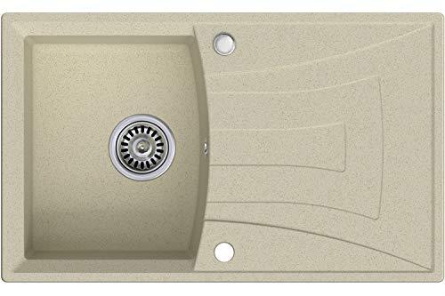 Granitspüle mit Siphon Valencia Einbauspüle Spülbecken Beige Küchenspüle Unterschrank Küche ab 45cm Spüle aus Granit mit Ablaufgarnitur Drehexcenter und Überlauf von Primagran