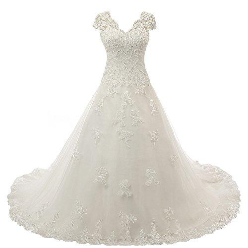 Zorayi Damen V-Ausschnitt Vintage Spitze Hochzeitskleid Brautkleider Elfenbein Größe 46