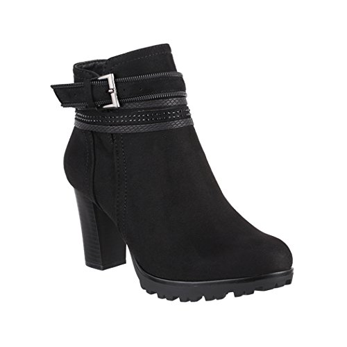 Elara Damen Stiefelette | Bequeme Ankle Boots | Plateau Absatz | Chunkyrayan 2018 C292-1-Black-38