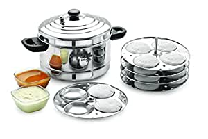 BMS Lifestyle 5-Plates Stainless Steel Idly Maker/Cooker (5-Plates, 20 Idlis)