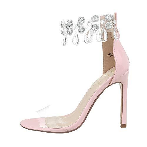 Ital-Design Damenschuhe Sandalen & Sandaletten High Heel Sandaletten Synthetik Hellrosa Gr. 40 -