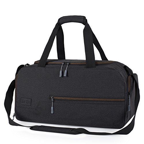 MarsBro Gym Bag Sports Holdall Travel Weekender Duffel Bag with Shoe Compartment for Men and Women, 30l, Black