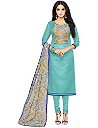 Applecreation Women'S Chanderi Cotton Unstitched Salwar Suit Dress Material with Chiffon Dupatta (Multi Coloured_Free Size)