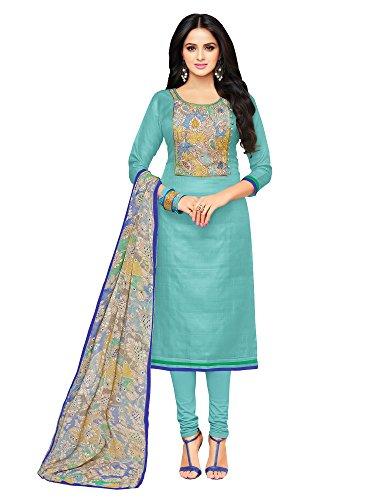 Applecreation Women\'s Cotton Chanderi salwar suits material (blue_Salwar Suit_21DMK624_Free Size)