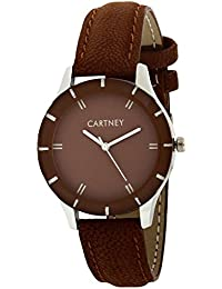 Cartney Analog Brown Dial Leather Strap Round Shape Women & Girl's Watch - WOBN44