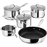 Stellar 7000 S7C1D 5 Piece Saucepan Set with Draining Lids, Induction Ready, (Stainless Steel)