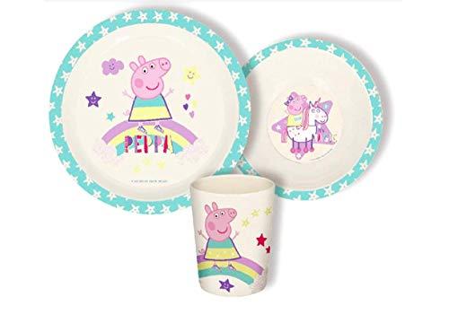 3 Teile Geschirr Lunch Set Geschirrset : Teller + Schale + Trinkbecher Bamboo Eco Friendly - Wählbar: Paw Minnie Mickey Princess Frozen - Geschenk für Kinder Baby (Peppa Pig
