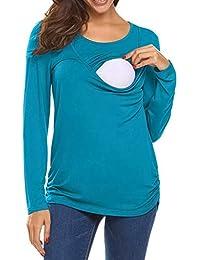 HOUMENGO Blusa Embarazada para Premamá, Camisetas Maternidad Mujeres De EnfermeríA Mangas Largas Casual Top Ropa De Lactancia