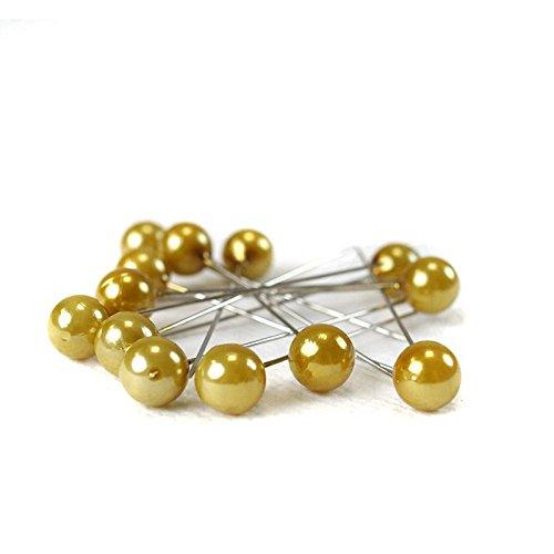 H&R Perle Tête Deco Broches Diamètre 10 mm x 60 mm avec Perforation Euro, Contenu : 50 Couleur : Doré/doré