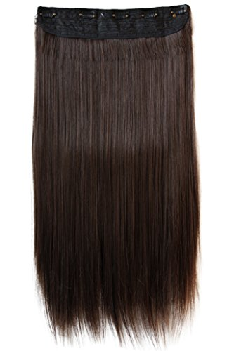 PRETTYSHOP XXL 5 Clips ein Teresse ganzen Kopf Clip In Extensions Haarverlängerung glatt 60cm dunkelbraun mix #2/33 C58
