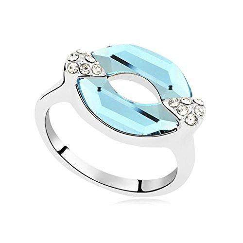 Kostüm Tumblr Zelda (AMDXD Schmuck Damen Ring Vergoldet Lippe Meerblau Hochzeitsring Größe 54)