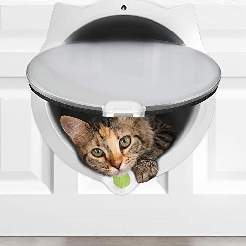 *LYNX Katzenklappe für Haustiere – 4-Wege-Verriegelung Katzenklappe – für Innentüren & Außentüren, Wand- oder versteckte Katzenstreubox – Einfache und schnelle Aufstellung – Trainingtips inklusive*