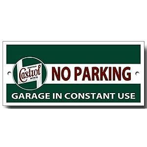 Plaque métal garage 'Castrol no parking, garage in constant use' de qualité pas cher