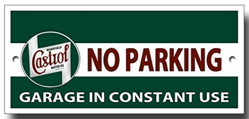 Plaque métal garage 'Castrol no parking, garage in constant use' de qualité pas cher