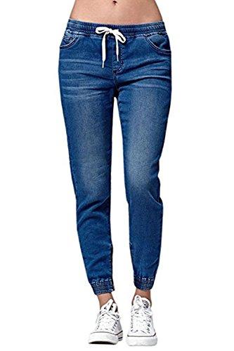 Ybenlover Damen High Waist Jeans Straight Slim Denim Stretch Lang Jeanshosen Mit Gummizug