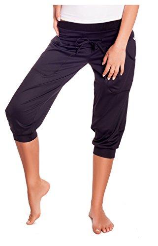Nexi Damen Fitnesshose Sporthose 3/4 - ideal für z. B. Fitness, Tanzen, Yoga, Jogging - elastisch und bequem - made in EU - Alissa, Schwarz, S