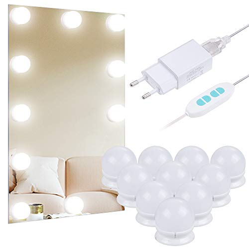 Anpro Luces LED Kit de Espejo con 10 Bombillas regulables,3 Modos Ajustable de Color de Luz,Luz Espejo...