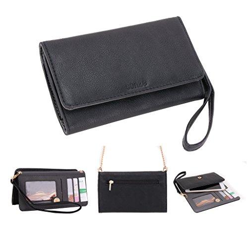 conze Fashion Téléphone portable petit sac de transport avec sangle croix corps compatible HUAWEI y625/y635/Y6 Black + Flower noir