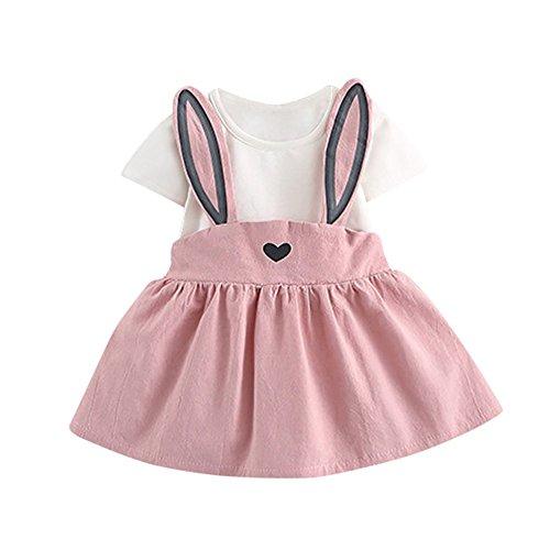 Mädchenkleider kinderkleidung Hirolan Babyoverall 0-3 Jahre Alt Herbst Baby Mädchen Niedlich Hase Bandage Anzug Kinder Kleinkind Mini Kleid (Rosa 2, 70)