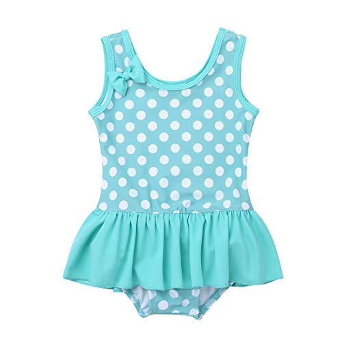 iiniim Baby Mädchen Tankini Bikini Einteiler Badeanzug Polka Dots Schwimmanzug Bademode (68-74/6-9 Monate, Hell Grün)