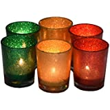 Mithila Handicrafts Set Of 6 Decorative Glass Votive Tealight Holders With Candle