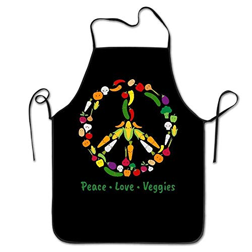 Kostüm Veggie - HTETRERW Cute Kawaii Vegetable Veggie Peace Sign Unisex Kitchen Bib Apron Barbershop Chef with Adjustable Neck Chef's Apron