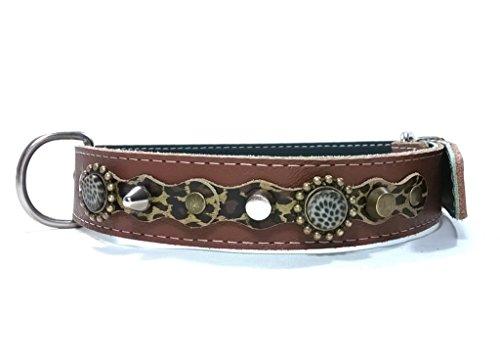 Handmade Braun Leder Hundehalsband für Mittelgroße und Große Hunde, Leopard Camouflage Leder, Steine und Schöne Nieten, 55 cm: X - Halsumfang 40-45 cm - Breit 28mm -