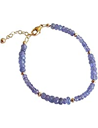 Gemshine - Bracelet - 14k Gold plated - Faceted Turqoises - 16 mm and 11 mm