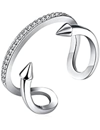 lureme® Chic Sterling Plata with Geométrico Forma Twist Flecha Adjustable Anillo (04001631)