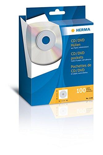 Herma 1140 CD DVD Hüllen (124 x 124 mm) weiß, 100 Stück, aus Papier, mit Sichtfenster, Rückseite selbstklebend
