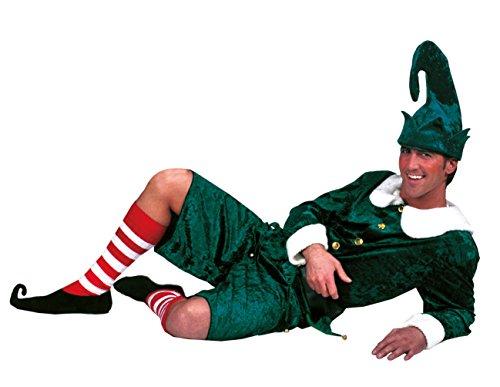 Karneval Klamotten Weihnachtswichtel Weihnachtself Weihnachtshelfer Kostüm Herren grün-weiß Weihnachten Komplett-Kostüm Größe ()