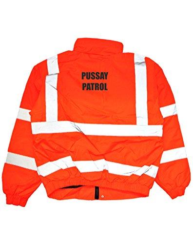 Print Wear Clothing Pussay Patrol Lustige Bedruckte Hi-Vis Bomberjacke Gr. XXL, orange/schwarz