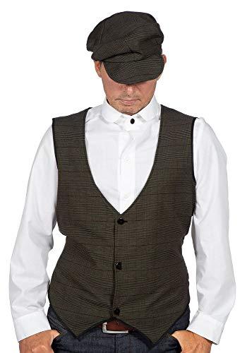 shoperama 20er Jahre Peaky Blinders Herren Hemd Weiß Langarm Kostüm-Zubehör runder Kragen The Roaring Twenties, Größe:56 (Herren-nadelstreifen-hemd)