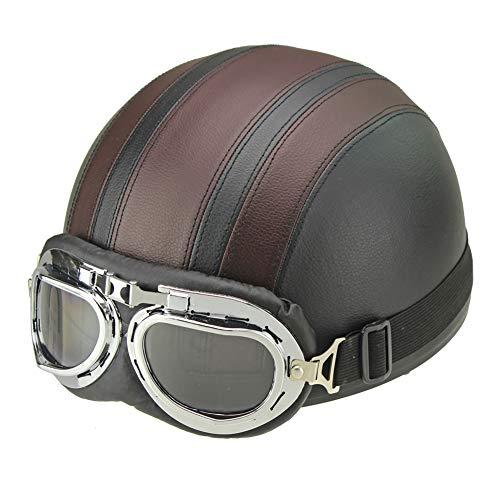 ZWL Motorrad halben Helm, Retro Persönlichkeit Cruiser Roller Fahrrad Motorrad Leder Helm für Erwachsene Männer und Frauen Vier Jahreszeiten,Brown