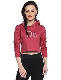 Campus Sutra Women Full Sleeve Printed Crop Hooded Sweatshirt