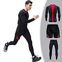 Mens 3 Pieces Clothing Set Fitness Athletic Quick Dry Clothing Set for Gym and Outdoors