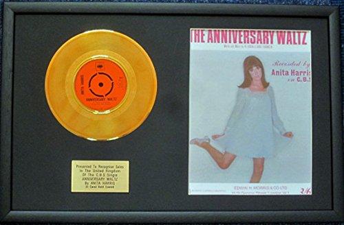 UK Music Awards --Anita Harris-17,8cm 24Karat Gold Disc & Lied Blatt-Anniversary Waltz