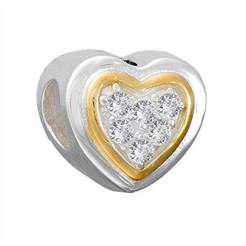 Andante-Stones 925 Sterling Silber Gold Bead Charm Herz mit weißen Zirkoniasteinen - Element Kugel für European Beads + Organzasäckchen (Charm Beads Gold)