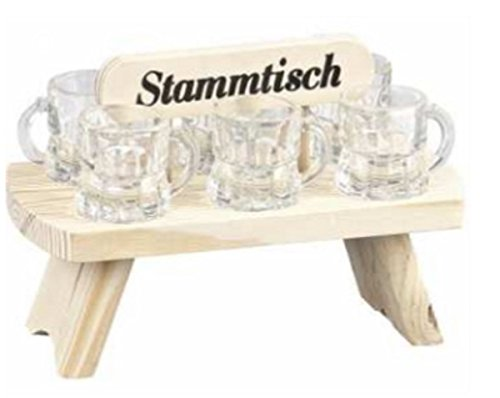 Stammtisch aus Holz mit 6 Schnapsgläser