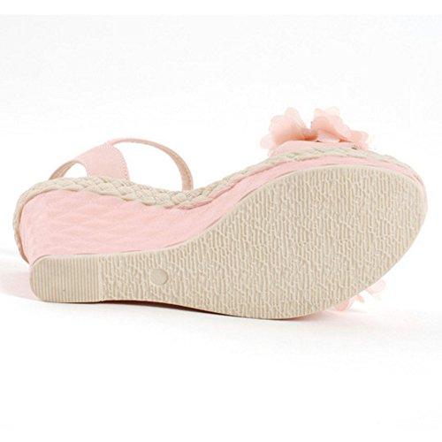 COOLCEPT Damen Mode Knochelriemchen Sandalen Slingback Keilabsatz Schuhe Blume Rosa