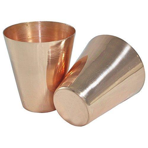 Set von 2-Prisha Indien Craft® Kleine, solide Kupfer Moscow Mule Schnapsgläser, Kapazität 2,46oz Pro Trinkgläsern-Shot Glas kupfer Moscow Mule Cocktail Cup, Weingläser (Bulk Glas-shot Gläser)