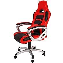 La Silla Española Luanco Silla de Oficina Gaming con Reposabrazos, Piel Sintética, Rojo y