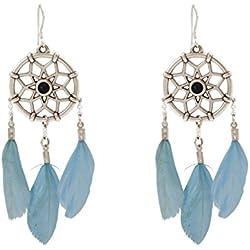 Gemshine - Atrapasueños - Pendientes - Plata - Boho - Plumas - Azul - 7 cm