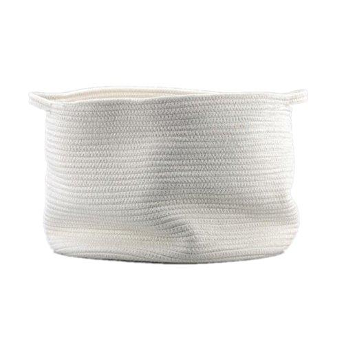 Baumwolle Seil Aufbewahrungskörbe mit Griffen Weich Robustes Spielzeug Aufbewahrung Kinderzimmer Mülleimer Home Dekorationen, groß, weiß