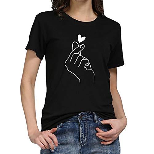 Ba Zha HEI Frauen Kurzarm Brief Gedruckt Bluse Sehr Angenehm zu Tragen Weiches Material Damen T-Shirt Rundhals Kurzarm Ladies Sommer Casual Oberteil Locker Bluse Tops Lace Cowl